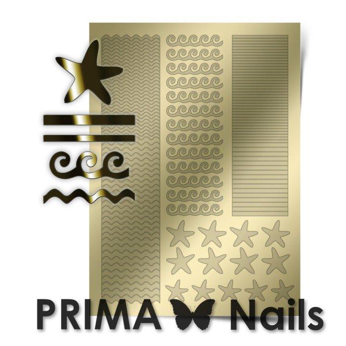 PrimaNails, Металлизированные наклейки для дизайна SEA-003, ЗолотоМеталлизированные наклейки<br>Металлизированные наклейки PRIMA NAILS - модный тренд в дизайне ногтей, который актуален для любого сезона!<br>