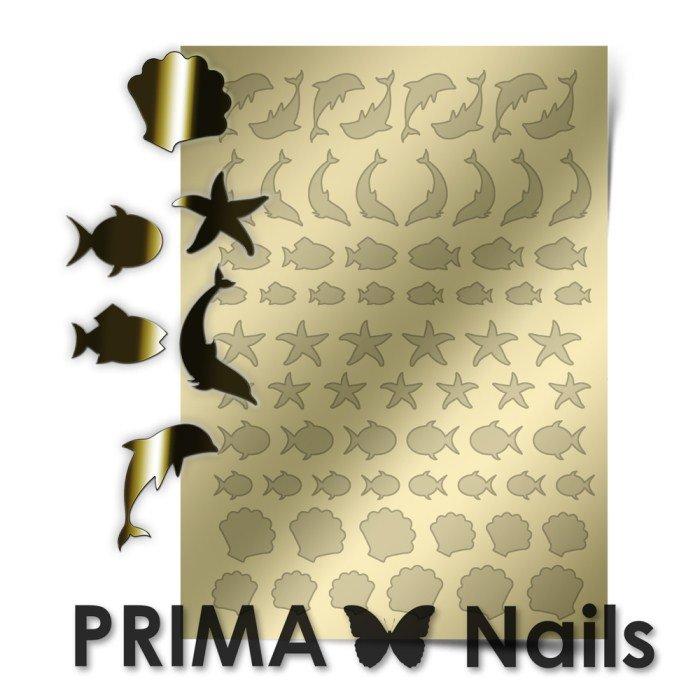 PrimaNails, Металлизированные наклейки для дизайна SEA-004, ЗолотоМеталлизированные наклейки<br>Металлизированные наклейки PRIMA NAILS - модный тренд в дизайне ногтей, который актуален для любого сезона!<br>