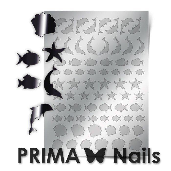 PrimaNails, Металлизированные наклейки для дизайна SEA-004, СереброМеталлизированные наклейки<br>Металлизированные наклейки PRIMA NAILS - модный тренд в дизайне ногтей, который актуален для любого сезона!<br>