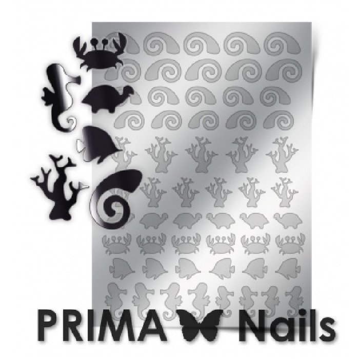 PrimaNails, Металлизированные наклейки для дизайна SEA-005, СереброМеталлизированные наклейки<br>Металлизированные наклейки PRIMA NAILS - модный тренд в дизайне ногтей, который актуален для любого сезона!<br>