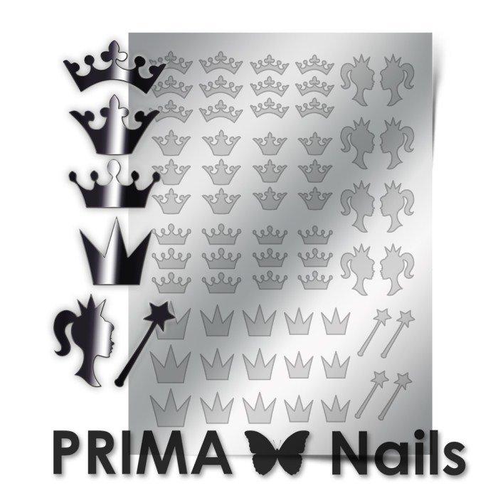 PrimaNails, Металлизированные наклейки для дизайна PR-002, СереброМеталлизированные наклейки<br>Металлизированные наклейки PRIMA NAILS - модный тренд в дизайне ногтей, который актуален для любого сезона!<br>