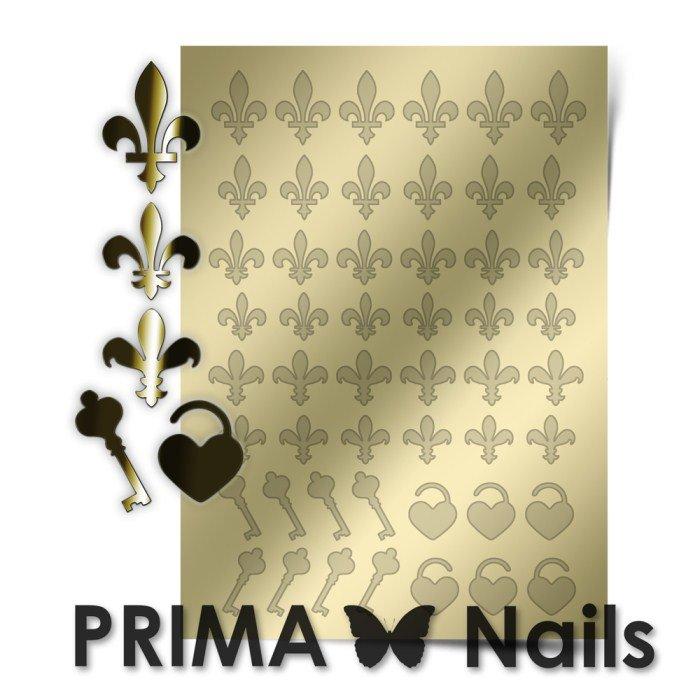 PrimaNails, Металлизированные наклейки для дизайна PR-003, ЗолотоМеталлизированные наклейки<br>Металлизированные наклейки PRIMA NAILS - модный тренд в дизайне ногтей, который актуален для любого сезона!<br>