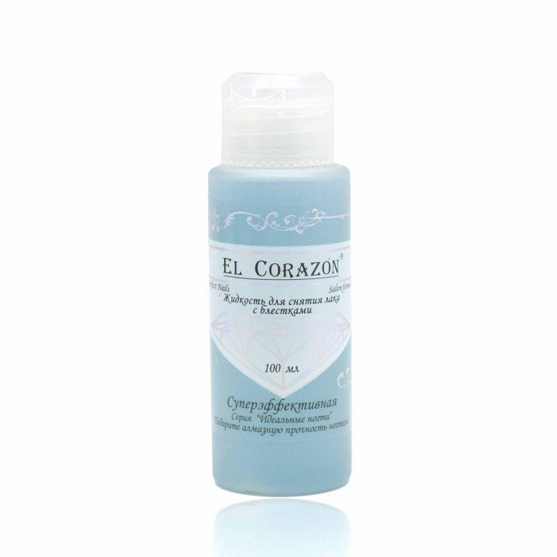 El Corazon, Жидкость для снятия лака (с блестками), 100 млЖидкости для снятия<br>Жидкость для снятия лака без ацетона для ломких и пересушенных ногтей.<br>