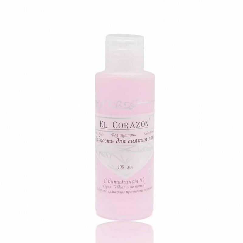 El Corazon, Жидкость для снятия лака (без ацетона), 100 млЖидкости для снятия<br>Жидкость для снятия лакас витамином Е и ухаживающим маслом<br>