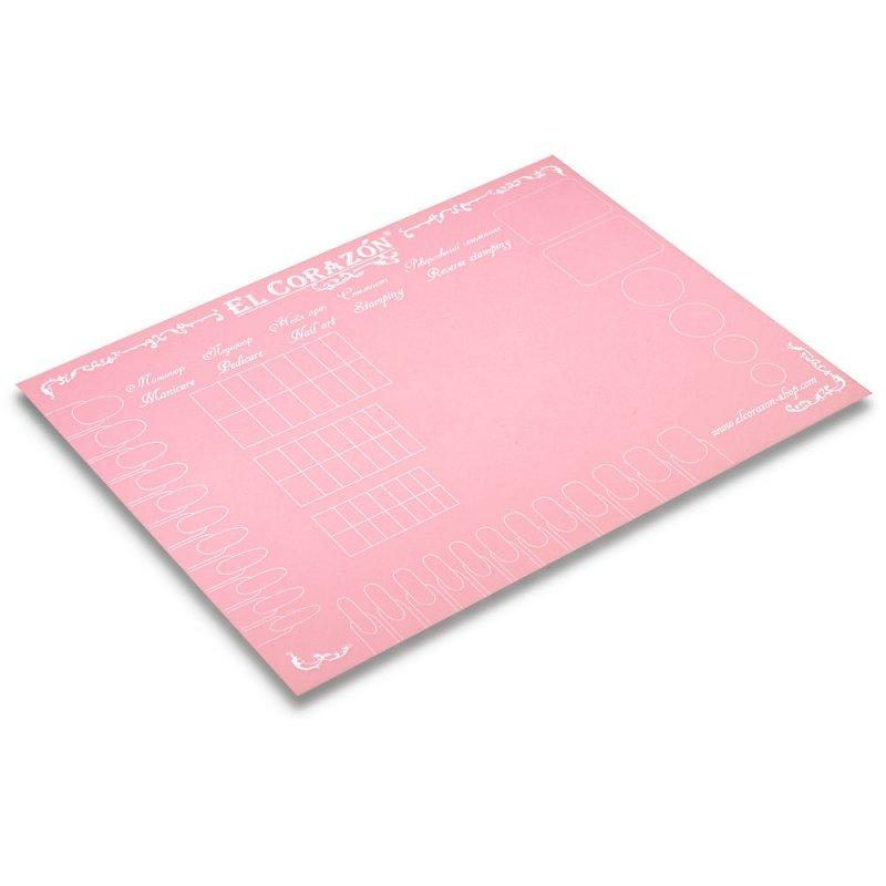 El Corazon, Коврик для дизайна ногтей (розовый)Инструменты и Аксессуары El Corazon<br>Коврик предназначен для экспериментов с лаками для ногтей и защиты рабочей поверхности от загрязнения<br>