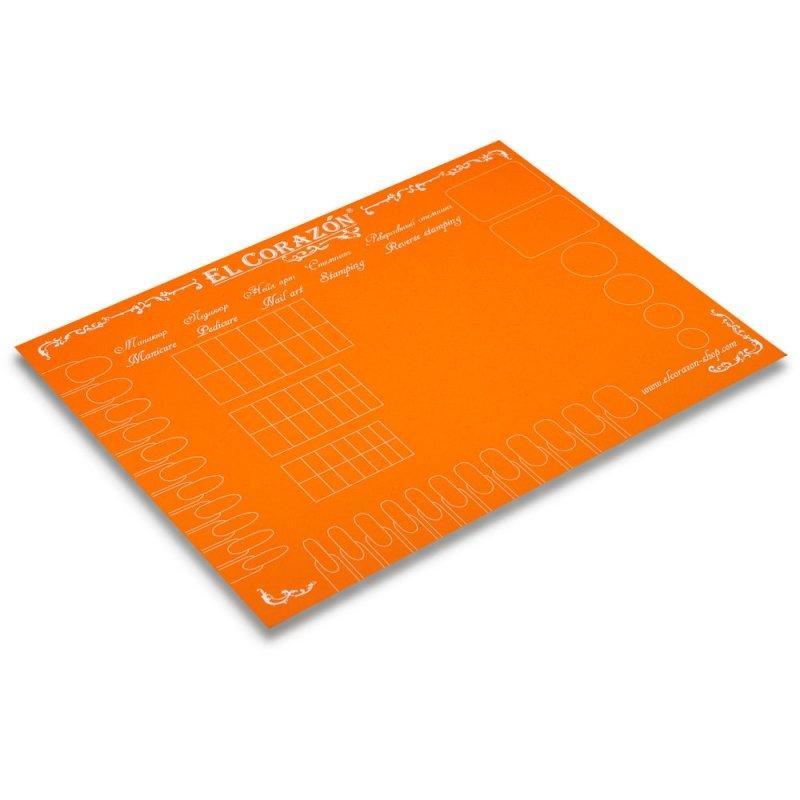 El Corazon, Коврик для дизайна ногтей (оранжевый)Инструменты и Аксессуары El Corazon<br>Коврик предназначен для экспериментов с лаками для ногтей и защиты рабочей поверхности от загрязнения<br>