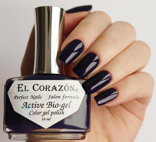 El Corazon, Active Bio-gel Color gel polish Cream №423/316Лечебный биогель El Corazon<br>Био-гельтемно-синий, без блесток и перламутра, плотный. Объем 16 ml.<br>