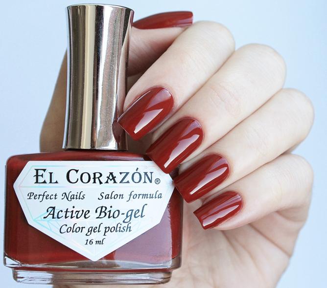 El Corazon, Active Bio-gel Color gel polish Cream №423/317Лечебный биогель El Corazon<br>Био-гелькоричнево-красный, без блесток и перламутра, плотный. Объем 16 ml.<br>
