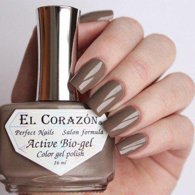 El Corazon, Active Bio-gel Color gel polish Cream №423-322Лечебный биогель El Corazon<br>Био-гельсветлого серо-коричневого цвета, без блесток и перламутра, плотный. Объем 16 ml.<br>