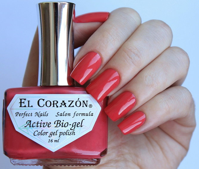 El Corazon, Active Bio-gel Color gel polish Cream №423-324Лечебный биогель El Corazon<br>Био-гелькрасно-розовый, без блесток и перламутра, плотный. Объем 16 ml.<br>