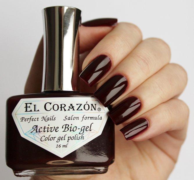 El Corazon, Active Bio-gel Color gel polish Cream №423/328Лечебный биогель El Corazon<br>Био-гельтемно-коричневый, без блесток и перламутра, плотный. Объем 16 ml.<br>