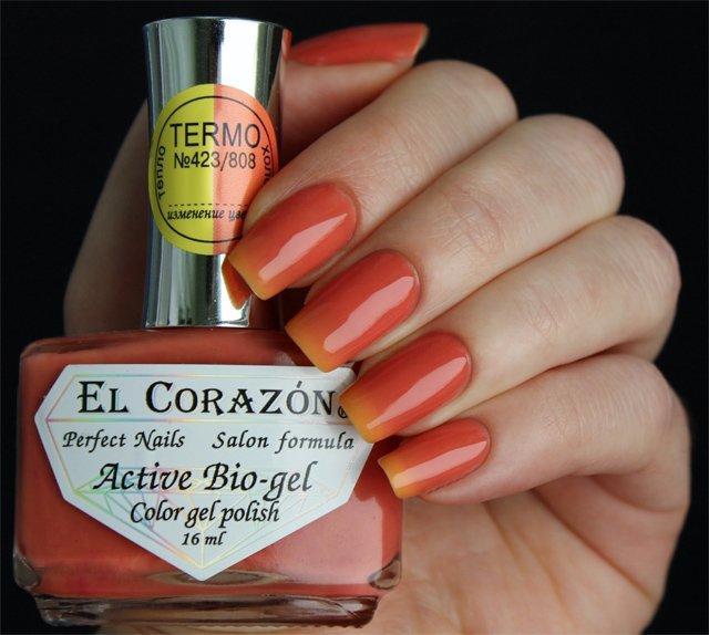 El Corazon, Active Bio-gel Color gel polish Termo №423/808Лечебный биогель El Corazon<br>Термолак,в тепле желтый, на холоде оранжевый, плотный<br>