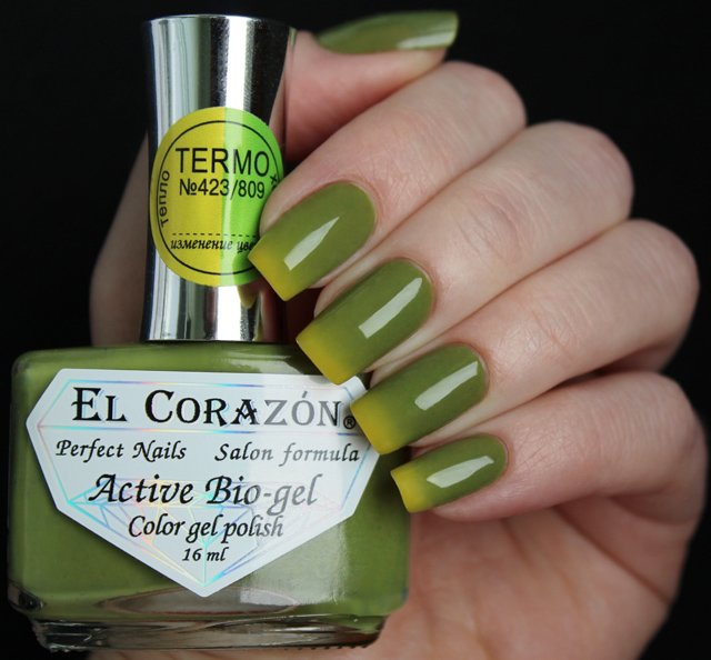 El Corazon, Active Bio-gel Color gel polish Termo №423-809Лечебный биогель El Corazon<br>Термолак, в тепле коричнево-зеленый, на холоде зеленый, плотный<br>