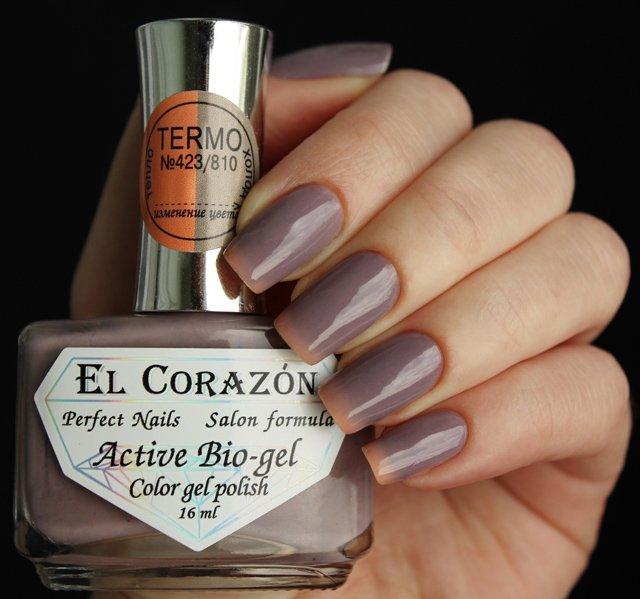 El Corazon, Active Bio-gel Color gel polish Termo №423/810Лечебный биогель El Corazon<br>Термолак, в тепле светло-оранжевый, на холодесиний, плотный<br>