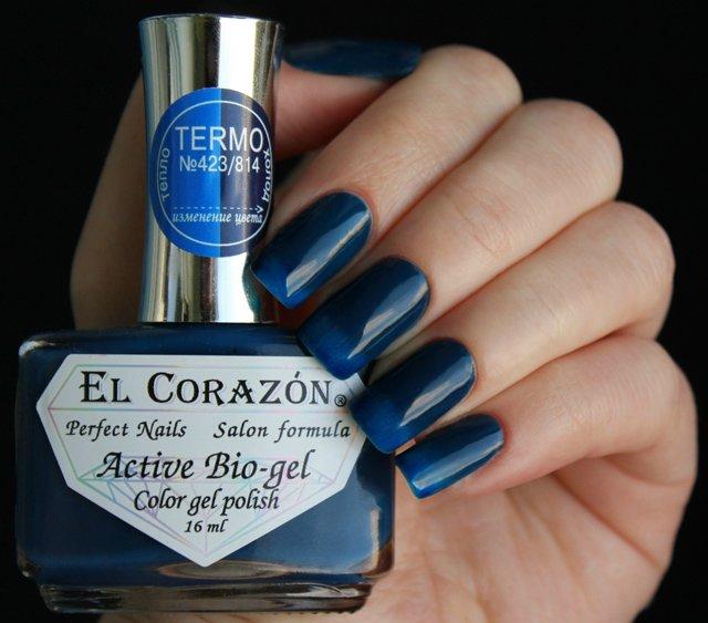El Corazon, Active Bio-gel Color gel polish Termo №423/814Лечебный биогель El Corazon<br>Термолак, в тепле синий, на холоде темно-синий, плотный<br>