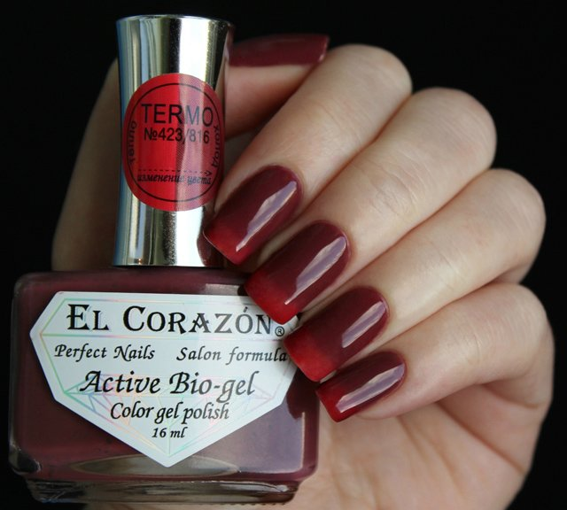 El Corazon, Active Bio-gel Color gel polish Termo №423-816Лечебный биогель El Corazon<br>Термолак, в тепле красный, на холоде более темный, плотный<br>