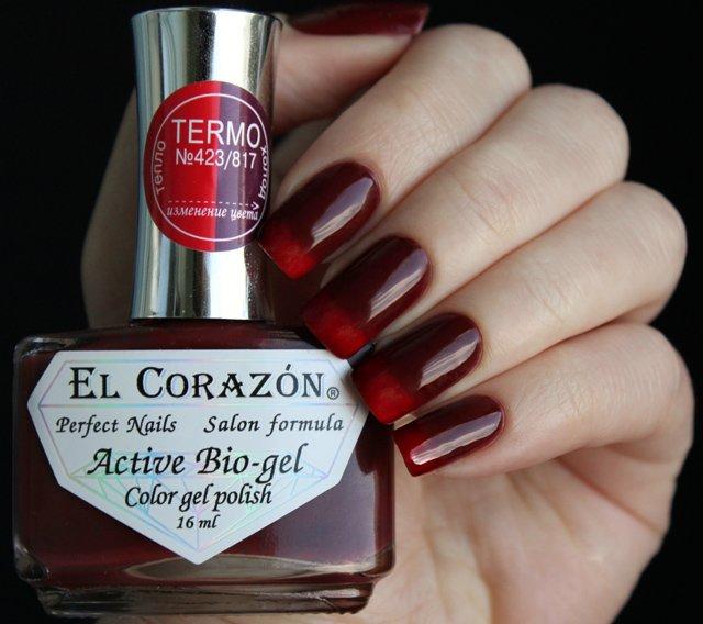 El Corazon, Active Bio-gel Color gel polish Termo №423/817Лечебный биогель El Corazon<br>Термолак, в тепле красный, на холодебордовый, плотный<br>