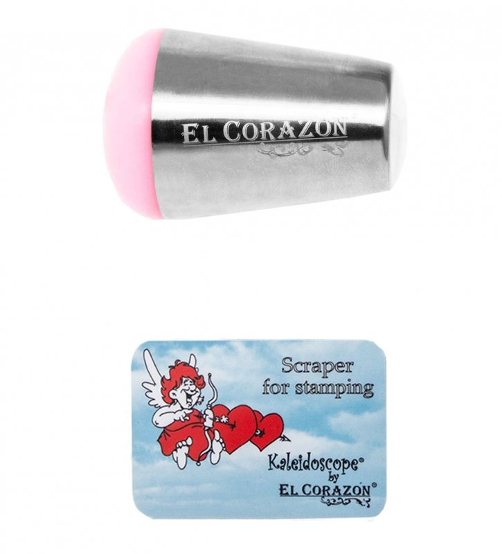 El Corazon, Круглый штамп и скрапер XL №9 (розовый)Инструменты и Аксессуары El Corazon<br>Круглый штамп + скрапер<br>