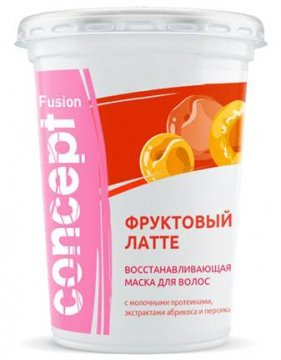 Concept, Маска FUSION Фруктовый латте, 450 млМаски для волос<br>Маска для волос восстанавливающая на основе молочных протеинов с экстрактами абрикоса и персика<br>