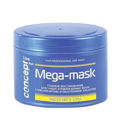 Concept, Маска Live hair, МЕГА-Уход, 500 млМаски для волос<br>Маска мега-уход для слабых и поврежденных волос.<br>