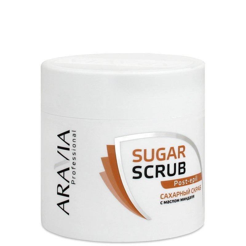 Aravia, Сахарный скраб с маслом миндаля, 300 млСредства ДО и ПОСЛЕ депиляции<br>Сахарный скраб для тела с маслом миндаля, 300 мл<br>