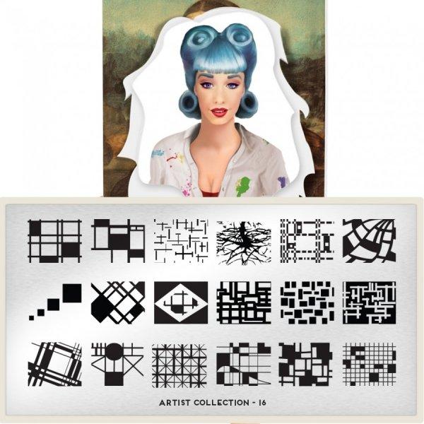 MoYou London, Пластина для стемпинга Artist 16Пластины для стемпинга MoYou London<br>Коллекция Artist<br>