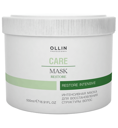 Ollin, Маска Care, интенсивная для восстановления структуры волос, 500 млМаски для волос<br>Маска восстанавливает сухие, осветленные, обесцвеченные и химически завитые волосы<br>