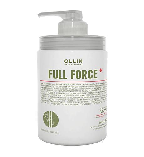 Ollin, Маска Full Force, для волос и кожи головы с экстрактом бамбука, 650 млМаски для волос<br>Маска снимает раздражение и успокаивает кожу головы, надолго обеспечивая ощущение чистоты<br>