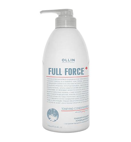 Ollin, Кондиционер Full Force, тонизирующий с экстрактом пурпур. женьшеня, 750 млБальзамы и Кондиционеры<br>Кондиционер увлажняет сухие, пористые и обезвоженные волосы<br>