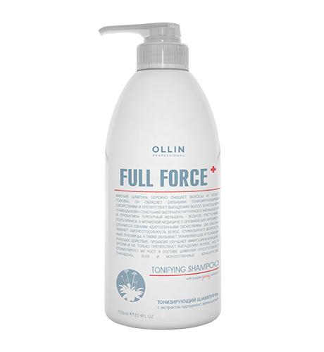 Ollin, Шампунь Full Force, тонизирующий с экстрактом пурпур. женьшеня, 750 млШампуни<br>Обладает тонизирующим свойством, улучшает микроциркуляцию крови, препятствует выпадению волос<br>
