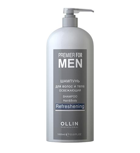 Ollin, Шампунь Premier for Men, для волос и тела освежающий, 1000 млШампуни<br>Освежающий шампунь для волос и тела идеально подходит для ежедневного применения<br>