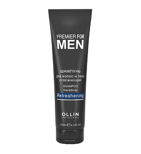Ollin, Шампунь Premier for Men, для волос и тела освежающий, 250 млШампуни<br>Освежающий шампунь для волос и тела идеально подходит для ежедневного применения<br>