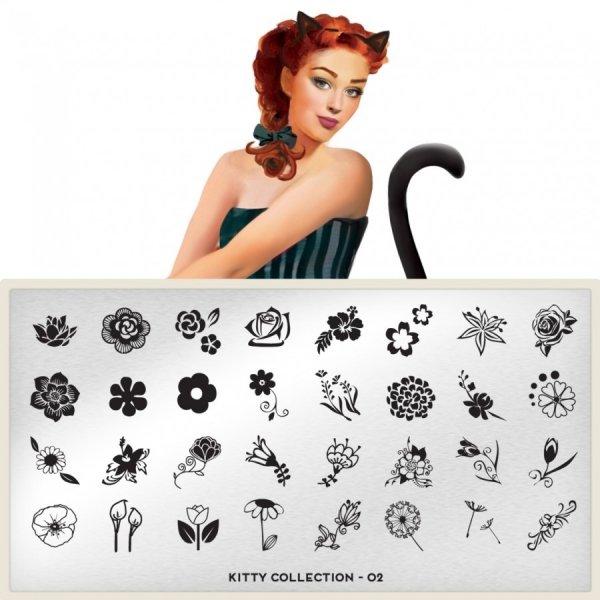 MoYou London, Пластина для стемпинга Kitty 02Пластины для стемпинга MoYou London<br>Коллекция Kitty<br>