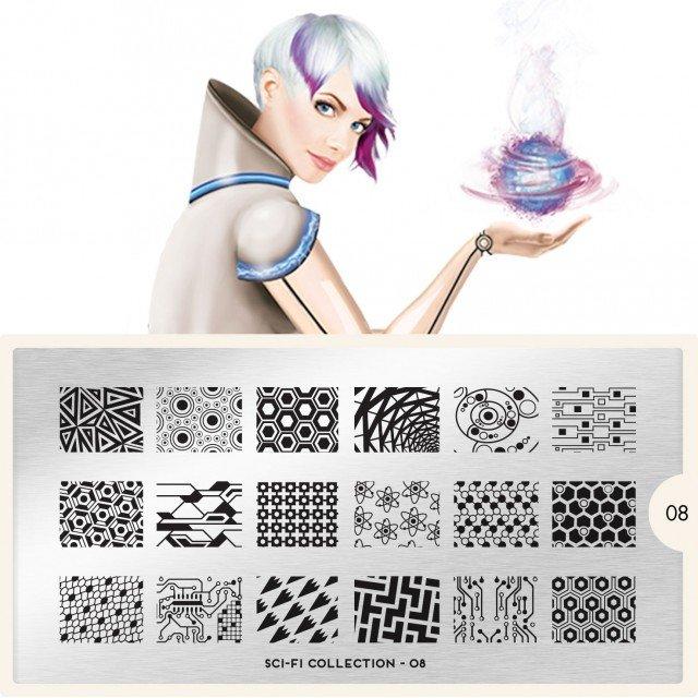 Пластина MoYou London Sci Fi 08Пластины для стемпинга MoYou London<br>Коллекция Sci Fi<br>