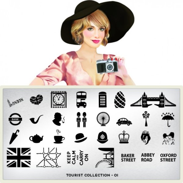 MoYou London, Пластина для стемпинга Tourist 01Пластины для стемпинга MoYou London<br>Коллекция Tourist<br>