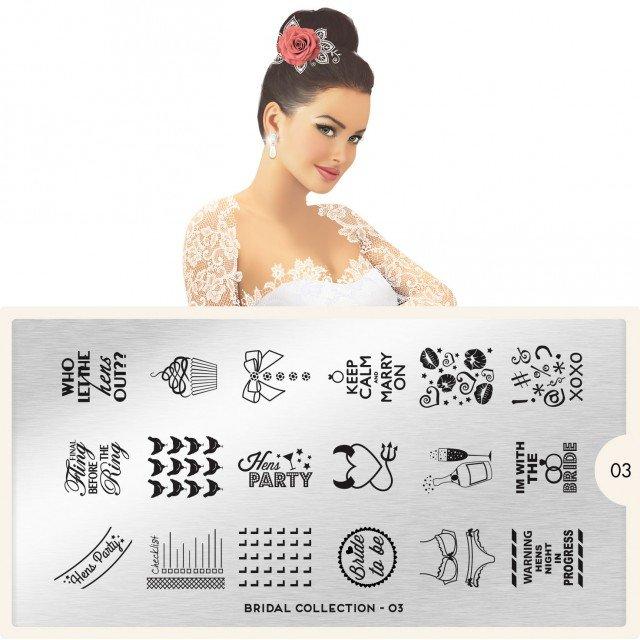 MoYou London, Пластина для стемпинга Bridal 03Пластины для стемпинга MoYou London<br>Коллекция Bridal<br>