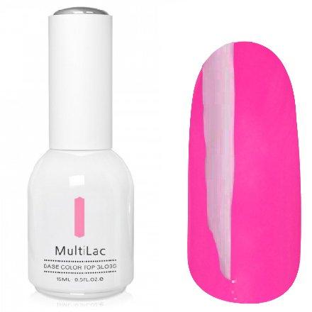 ruNail, MultiLac №2323 (15 мл.)Однофазный RuNail<br>Гель-лак 4 в 1, цвет неоновый розовый<br>