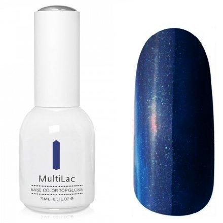 ruNail, MultiLac №2337 (15 мл.)Однофазный RuNail<br>Гель-лак 4 в 1, цвет темно-синий с блестками<br>