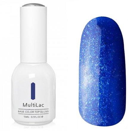 ruNail, MultiLac №2338 (15 мл.)Однофазный RuNail<br>Гель-лак 4 в 1, цвет сине-голубой с блестками<br>