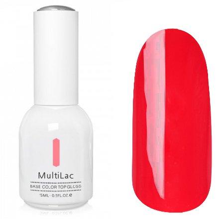 ruNail, MultiLac №2351 (15 мл.)Однофазный RuNail<br>Гель-лак 4 в 1, цвет красно-коралловый<br>