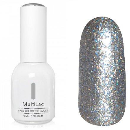 ruNail, MultiLac №2358 (15 мл.)Однофазный RuNail<br>Гель-лак 4 в 1, цвет серебряный с блестками<br>