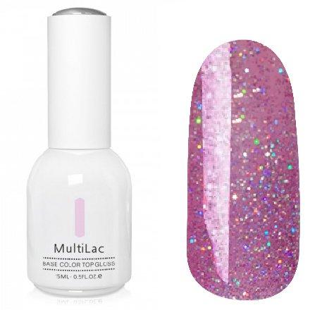 ruNail, MultiLac №2604 (15 мл.)Однофазный RuNail<br>Гель-лак 4 в 1, цвет розовый с голографическими блестками<br>