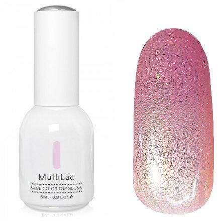 ruNail, MultiLac №2605 (15 мл.)Однофазный RuNail<br>Гель-лак 4 в 1, цвет розово-золотистый с перламутром<br>