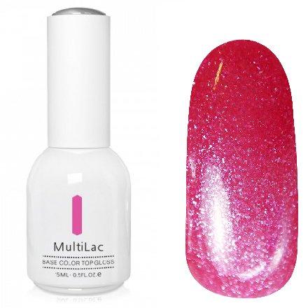ruNail, MultiLac №2607 (15 мл.)Однофазный RuNail<br>Гель-лак 4 в 1, цвет темно-розовый с блестками<br>