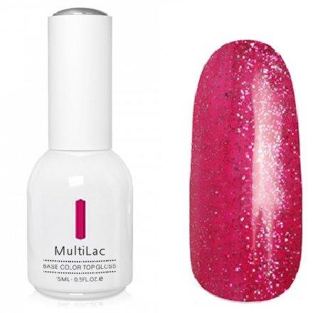 ruNail, MultiLac №2608 (15 мл.)Однофазный RuNail<br>Гель-лак 4 в 1, цвет красно-розовый с блестками<br>