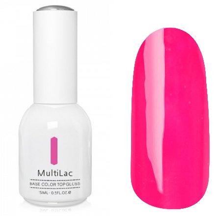 ruNail, MultiLac №2609 (15 мл.)Однофазный RuNail<br>Гель-лак 4 в 1, цвет неоново-розовый<br>