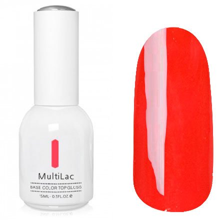 ruNail, MultiLac №2611 (15 мл.)Однофазный RuNail<br>Гель-лак 4 в 1, цвет ярко красный<br>
