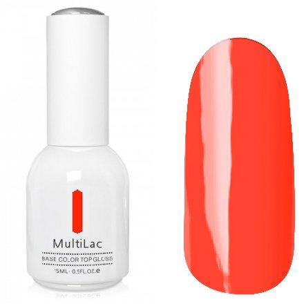 ruNail, MultiLac №2612 (15 мл.)Однофазный RuNail<br>Гель-лак 4 в 1, цвет оранжево-красный<br>
