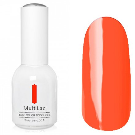 ruNail, MultiLac №2613 (15 мл.)Однофазный RuNail<br>Гель-лак 4 в 1, цвет оранжевый<br>