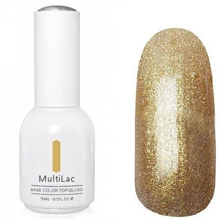 ruNail, MultiLac №2617 (15 мл.)Однофазный RuNail<br>Гель-лак 4 в 1, цвет золотистый с блестками<br>